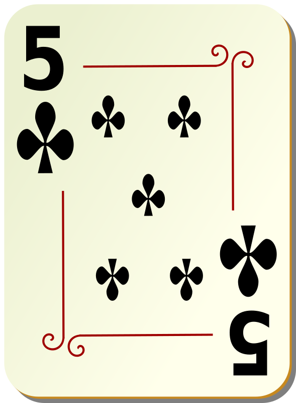 "Ornamental deck: 5 of clubs by nicubunu - playing card from the ""Ornamental"" set"