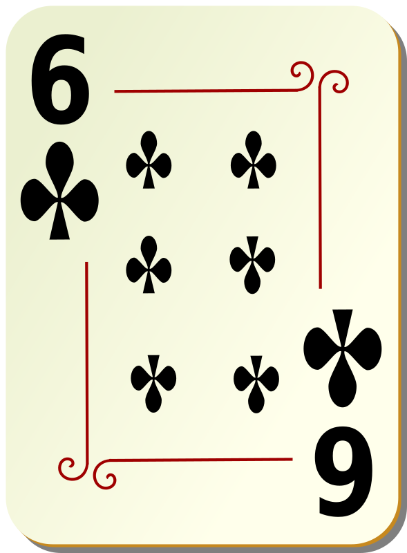 Ornamental deck: 6 of clubs by nicubunu