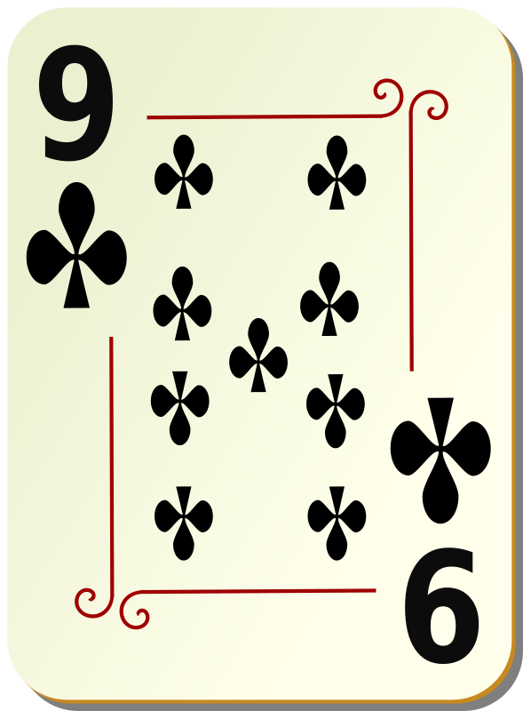 "Ornamental deck: 9 of clubs by nicubunu - playing card from the ""Ornamental"" set"