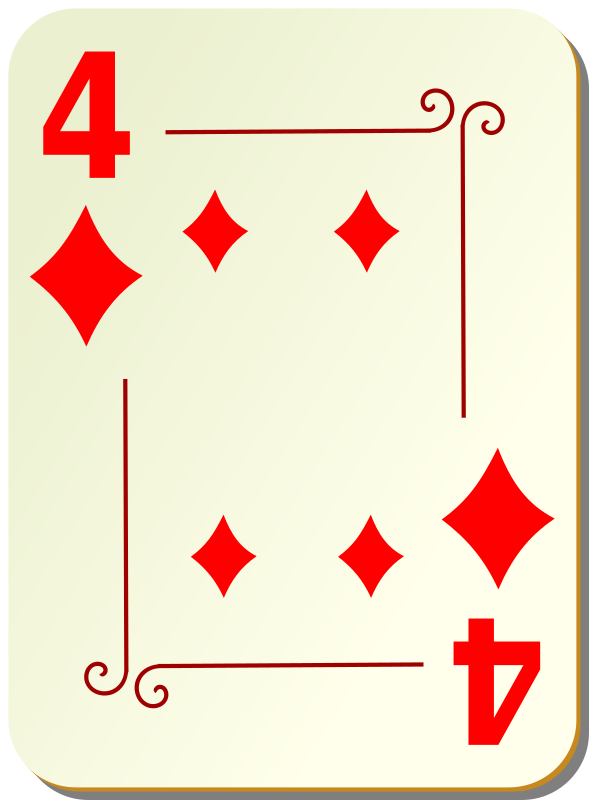 "Ornamental deck: 4 of diamonds by nicubunu - playing card from the ""Ornamental"" set"