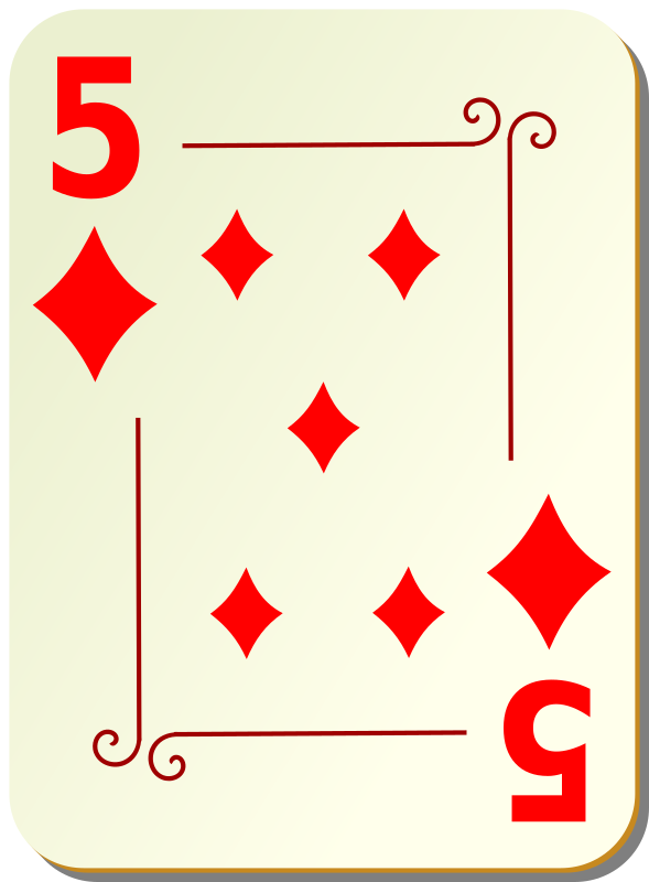 "Ornamental deck: 5 of diamonds by nicubunu - playing card from the ""Ornamental"" set"