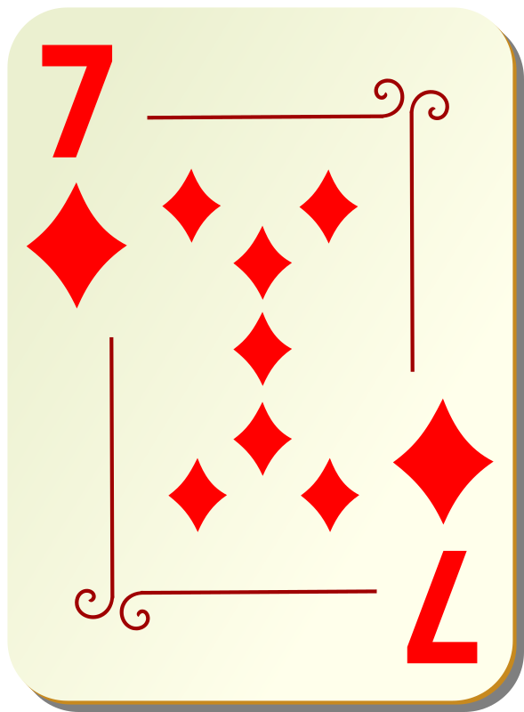 "Ornamental deck: 7 of diamonds by nicubunu - playing card from the ""Ornamental"" set"