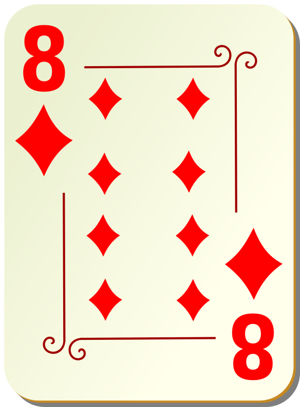 "Ornamental deck: 8 of diamonds by nicubunu - playing card from the ""Ornamental"" set"
