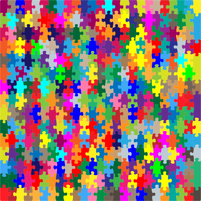 Clipart - Multicolored Jigsaw Puzzle Pieces No Strokes