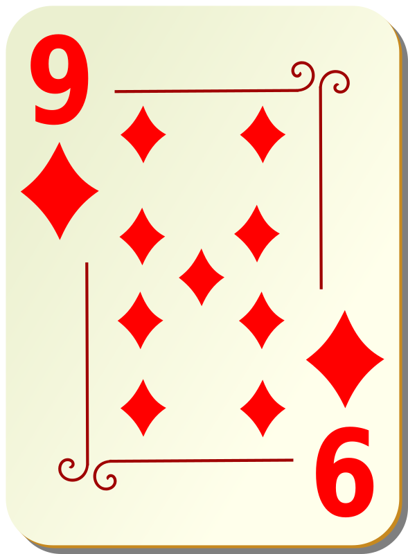 "Ornamental deck: 9 of diamonds by nicubunu - playing card from the ""Ornamental"" set"