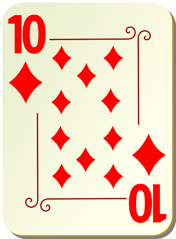 "Ornamental deck: 10 of diamonds by nicubunu - playing card from the ""Ornamental"" set"