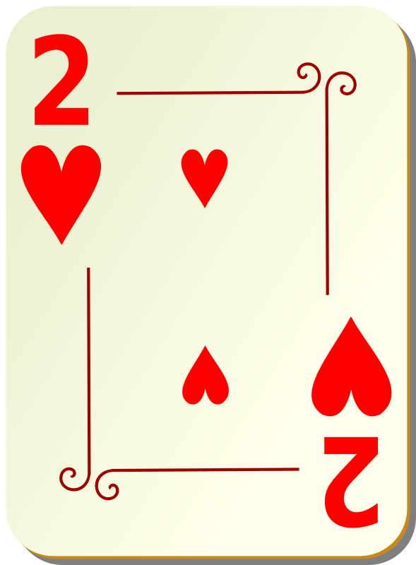 "Ornamental deck: 2 of hearts by nicubunu - playing card from the ""Ornamental"" set"
