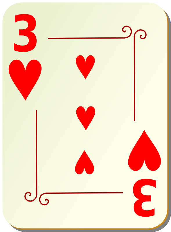 "Ornamental deck: 3 of hearts by nicubunu - playing card from the ""Ornamental"" set"
