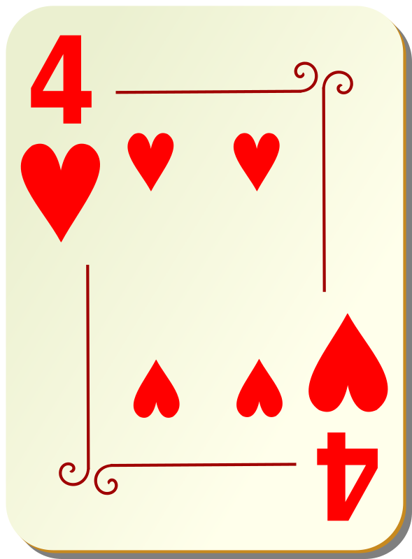 Ornamental deck: 4 of hearts by nicubunu