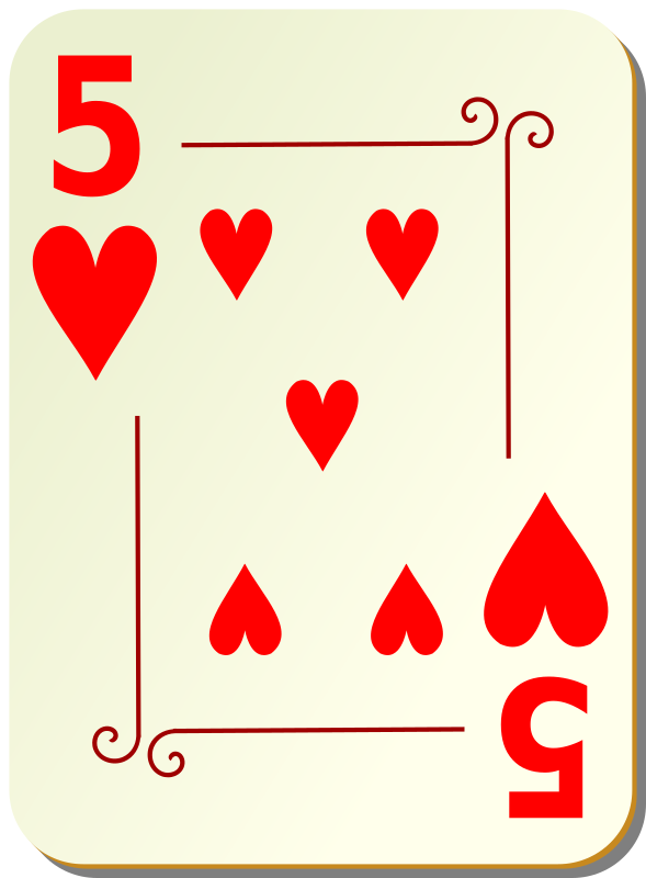 Ornamental deck: 5 of hearts by nicubunu