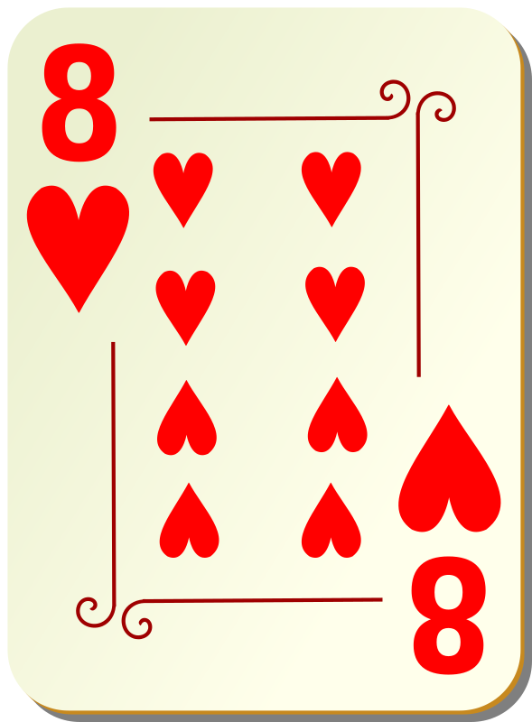 "Ornamental deck: 8 of hearts by nicubunu - playing card from the ""Ornamental"" set"