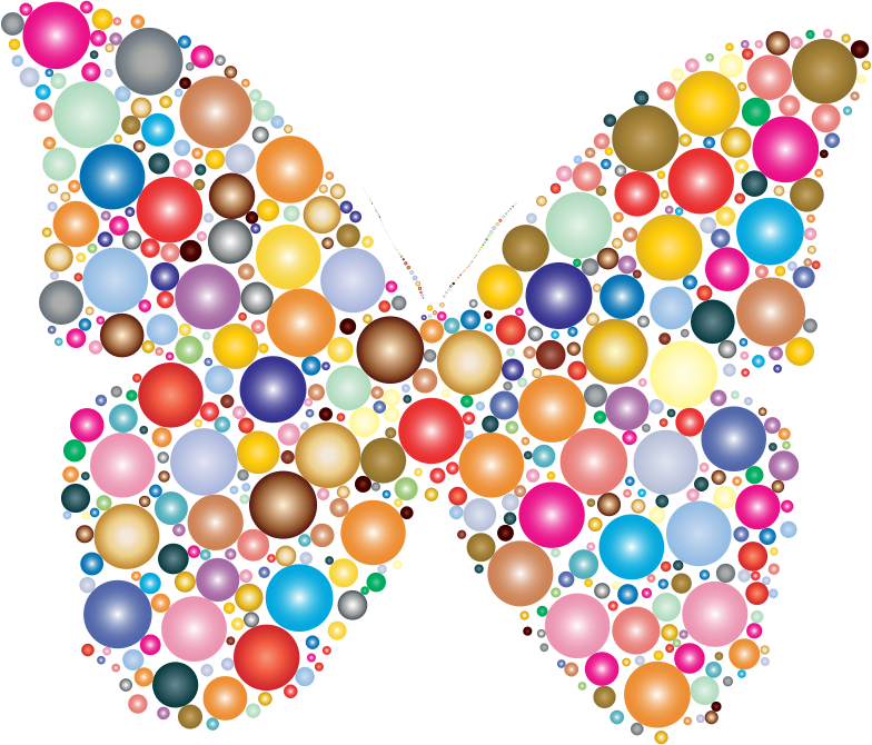 Clipart - Colorful Circles Butterfly 2