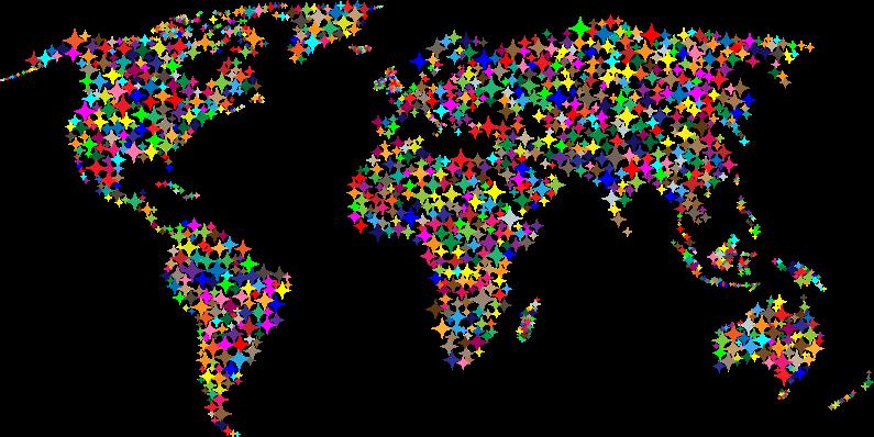 Clipart - Colorful Diamonds World Map