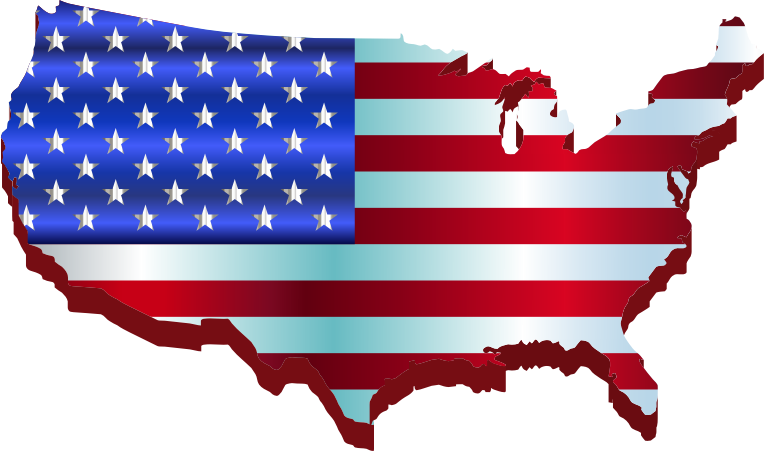 Clipart - 3D America Map Flag Enhanced