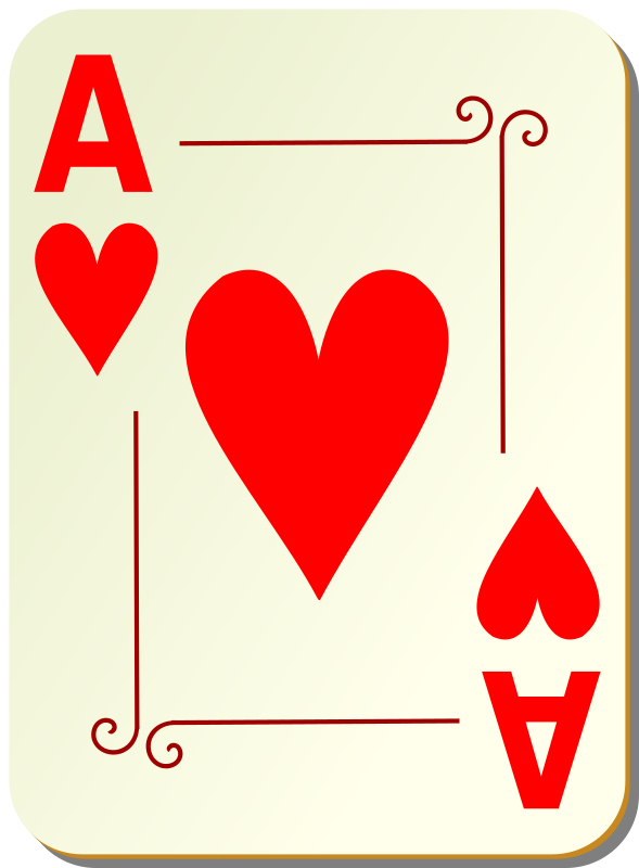 "Ornamental deck: Ace of hearts by nicubunu - playing card from the ""Ornamental"" set"