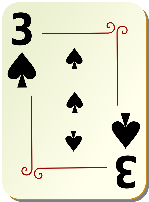 "Ornamental deck: 3 of spades by nicubunu - playing card from the ""Ornamental"" set"