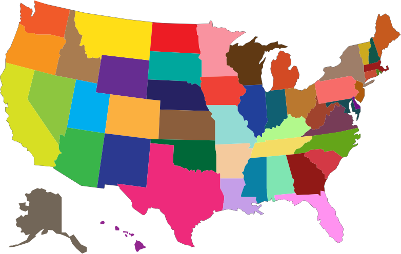 clipart multicolored united states map