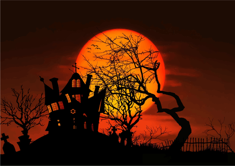 Clipart - Haunted House Moonlight Silhouette