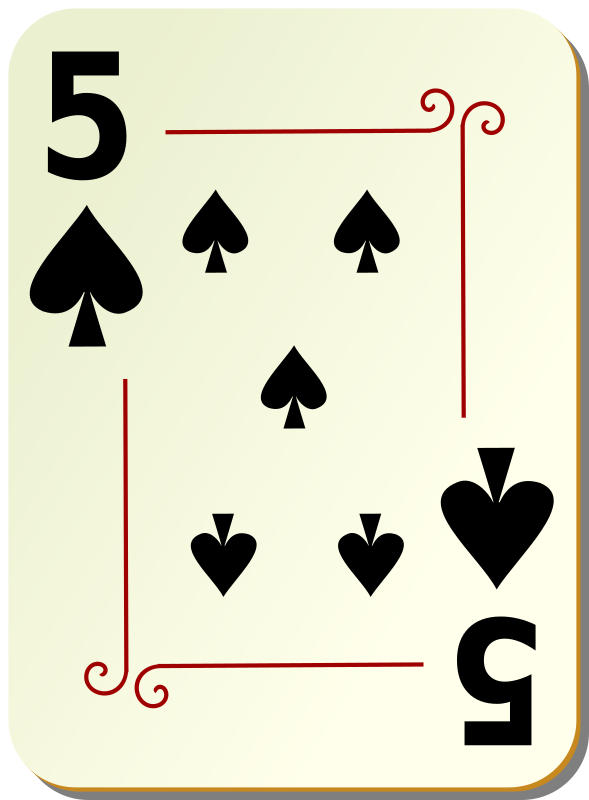 "Ornamental deck: 5 of spades by nicubunu - playing card from the ""Ornamental"" set"