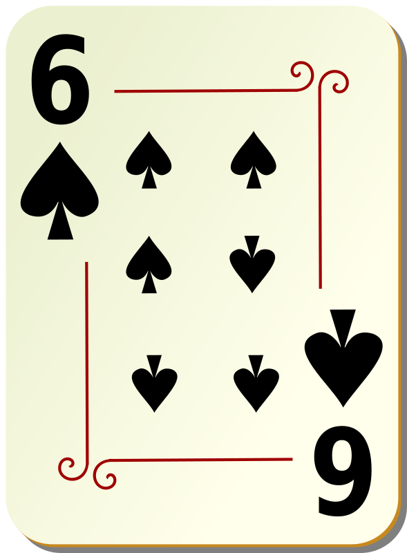 Ornamental deck: 6 of spades by nicubunu