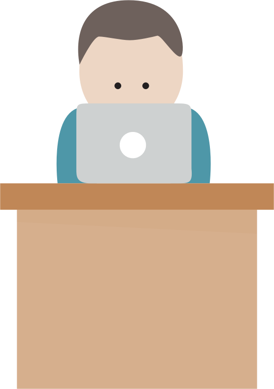 Clipart - Boy With Computer At Desk