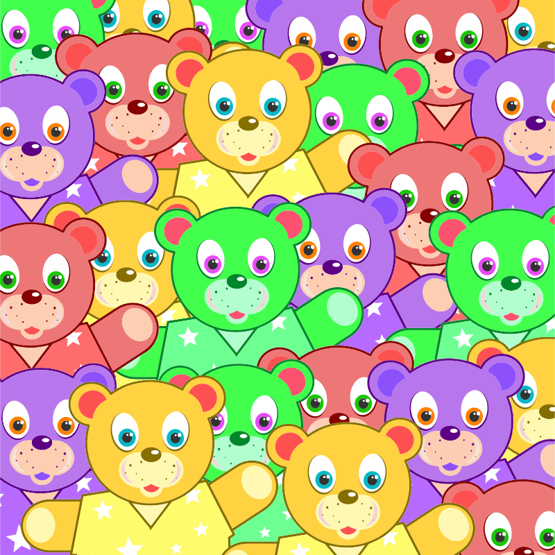 Clipart - Multicolored Teddy Bears Background
