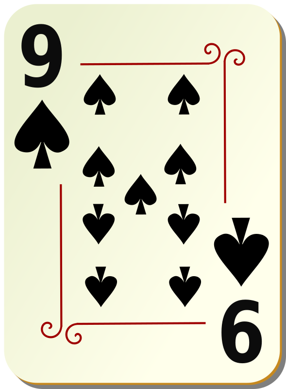 Ornamental deck: 9 of spades by nicubunu