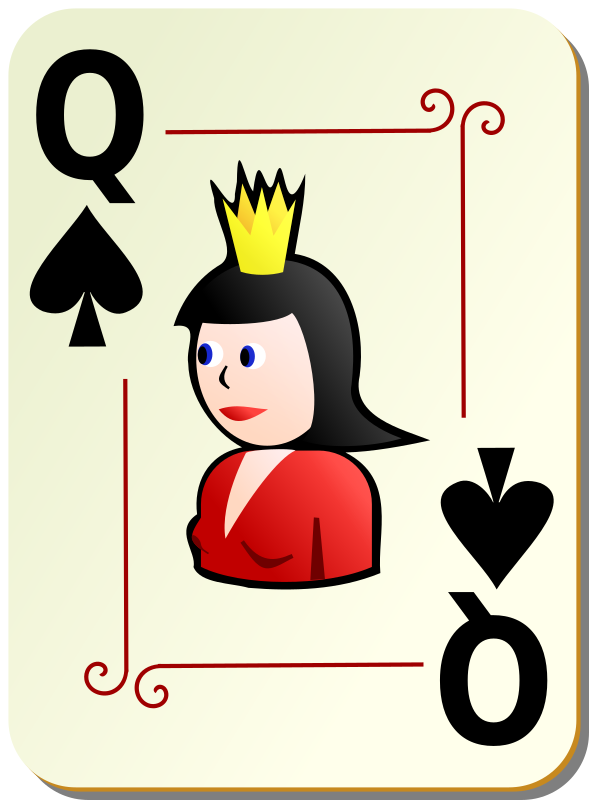"Ornamental deck: Queen of spades by nicubunu - playing card from the ""Ornamental"" set"