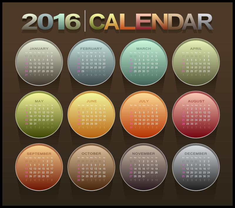 Clipart - Calendar 2016
