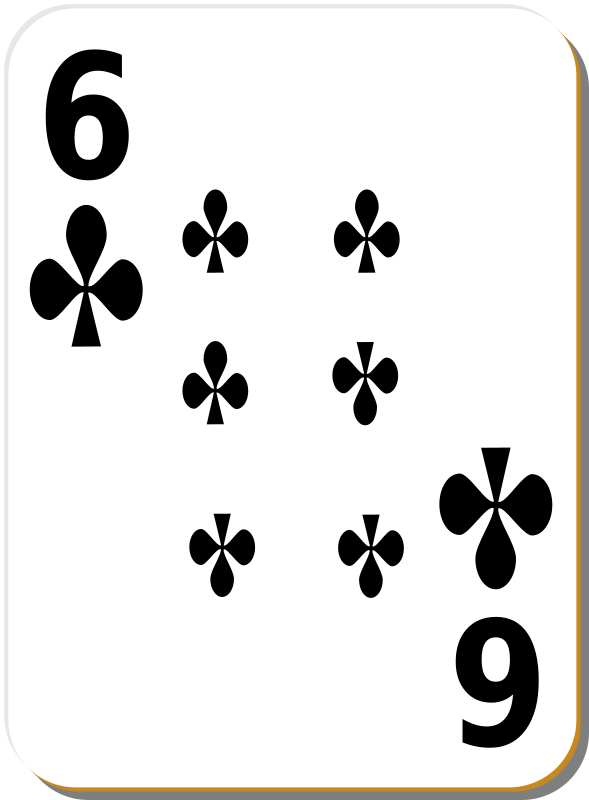 "White deck: 6 of clubs by nicubunu - playing card from the ""White"" set"