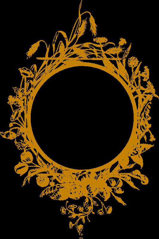 Clipart - Flowery frame 2 (golden)