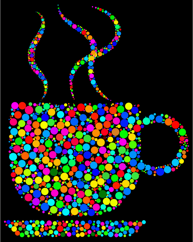 Clipart - Colorful Coffee Circles 2 With Black Background