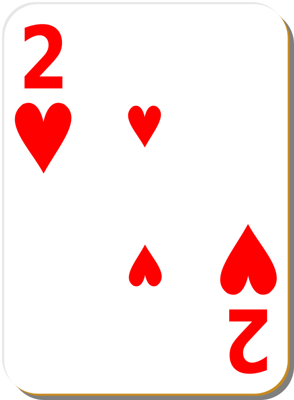 "White deck: 2 of hearts by nicubunu - playing card from the ""White"" set"