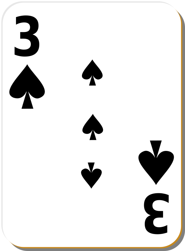 "White deck: 3 of spades by nicubunu - playing card from the ""White"" set"