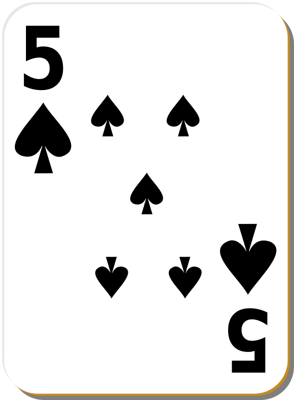 "White deck: 5 of spades by nicubunu - playing card from the ""White"" set"