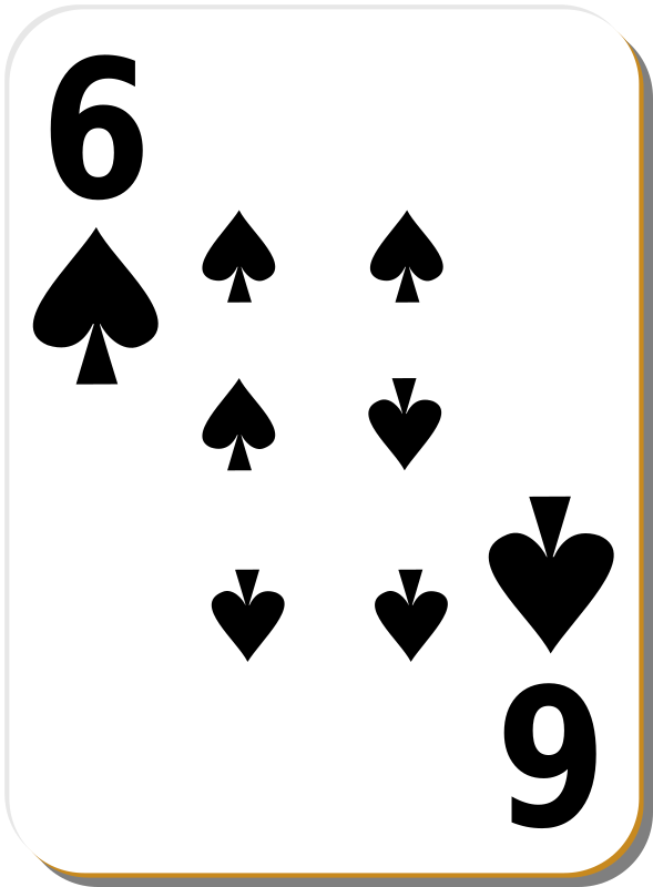 "White deck: 6 of spades by nicubunu - playing card from the ""White"" set"