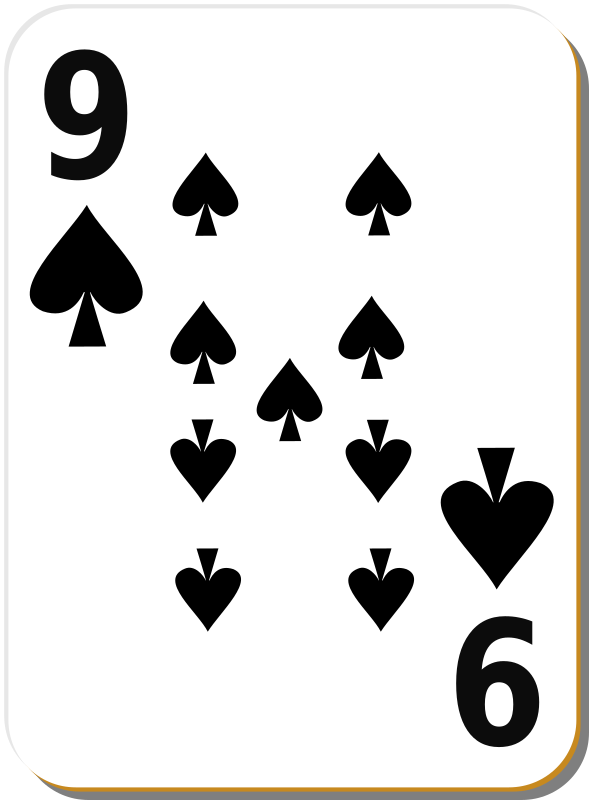 "White deck: 9 of spades by nicubunu - playing card from the ""White"" set"