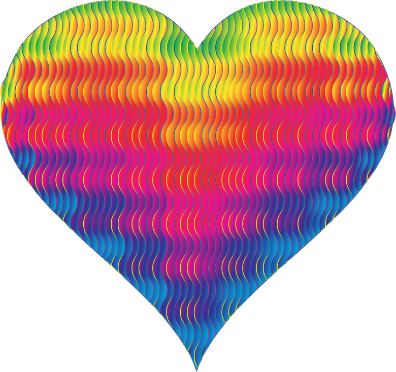 Clipart - Colorful Wavy Heart 8
