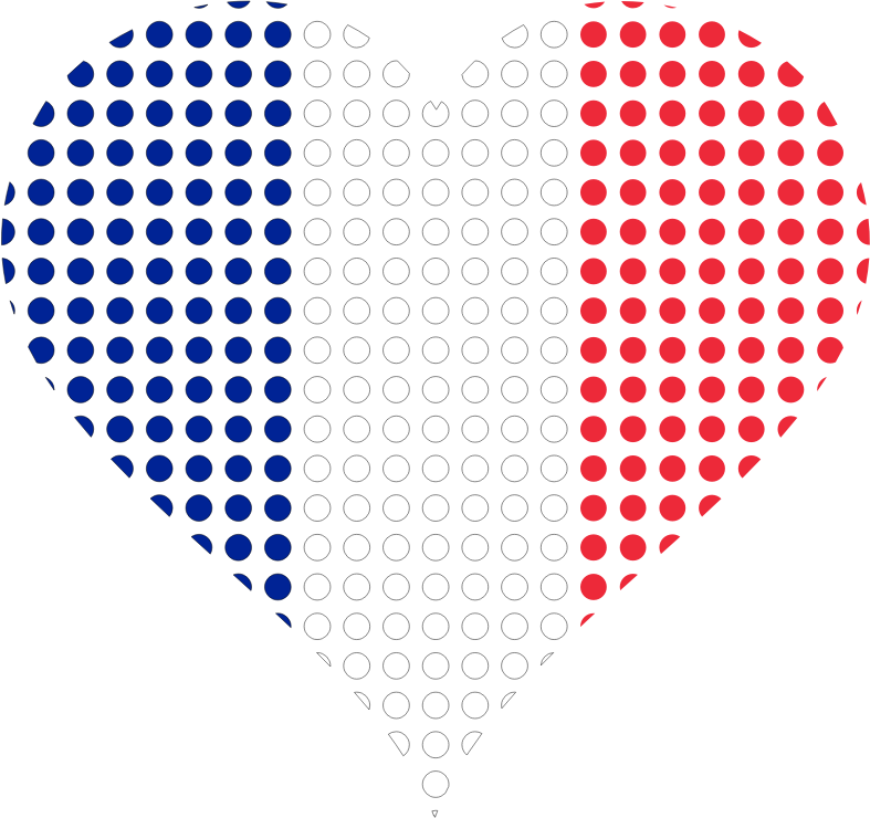 Clipart - Heart France Flag Circles Stroked