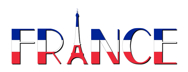 Clipart - France Typography With Shadow