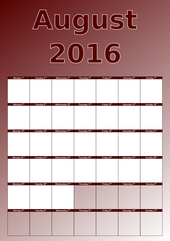 Clipart - August calen... August Calendar Clipart