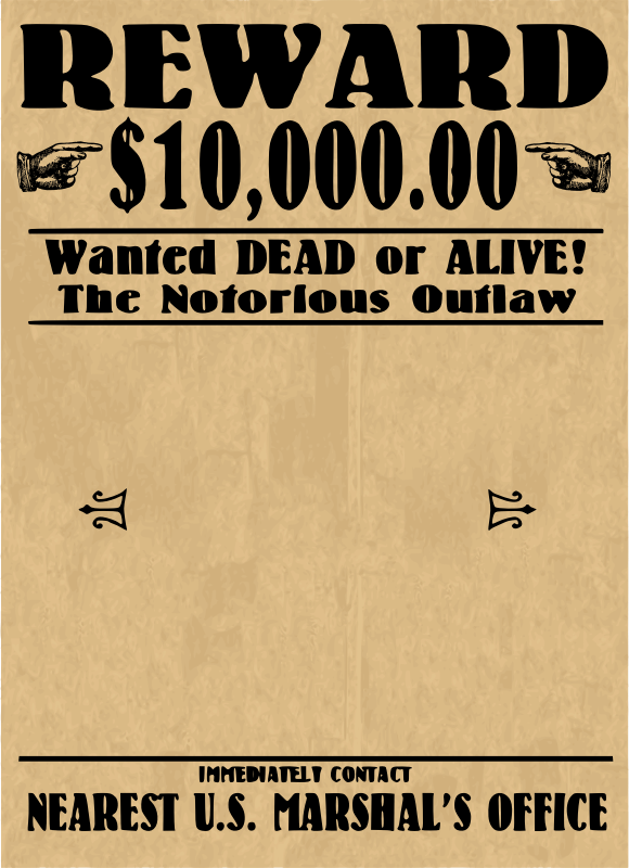 Clipart wanted poster blank for Wanted dead or alive poster template free