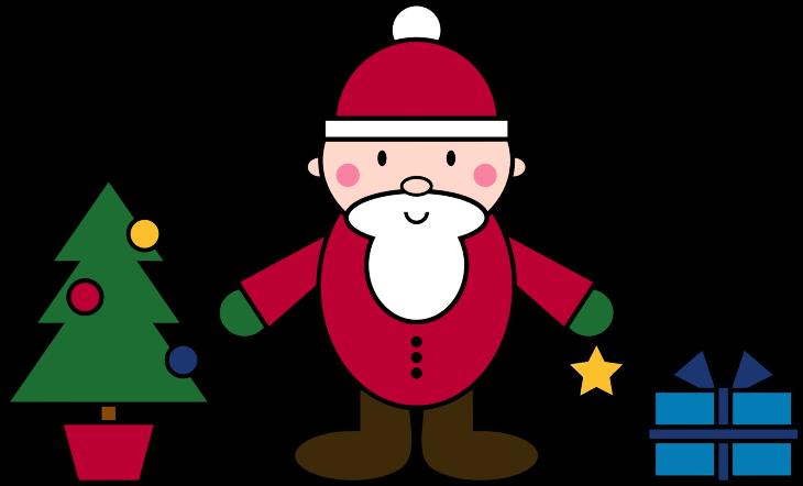 Clipart - Simple Santa Claus Christmas Scene