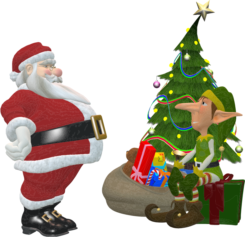 Clipart - Santa Claus And Elf