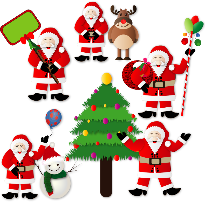 clipart christmas santas. Black Bedroom Furniture Sets. Home Design Ideas