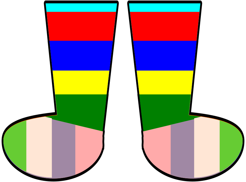 Rainbow Socks by FunDraw_dot_com - A pair of rainbow socks.  Forgive me if you don't like the colors.  They're easy to change in Inkscape.  Each color is a shape.  Just select it, change the fill, and voila.