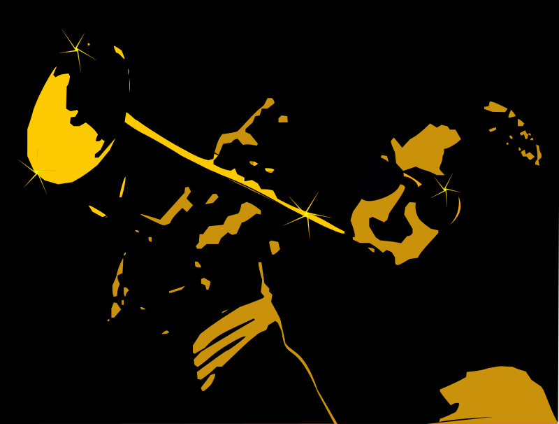 Jazz2 by emeza - A jazz player playing saxophone with an oval black background.
