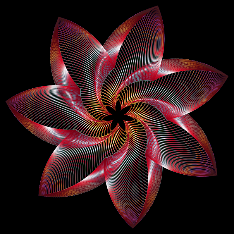 Clipart - Prismatic Flower Line Art 4