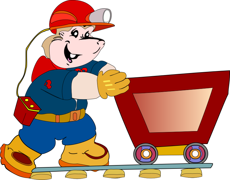 Mascot by emeza - A gopher dressed up as a miner pushing a mining cart.