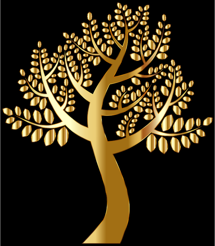 Simple Gold Tree on christmas tree background 2